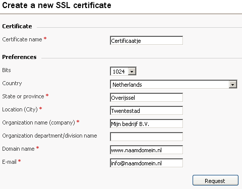 Add New Certificate scherm