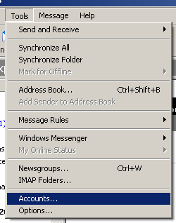Outlook Express scherm 1